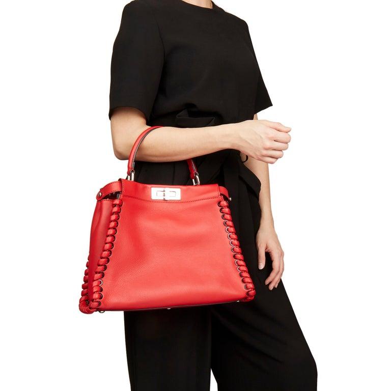2017 Fendi Red Smooth Calfskin Leather Whipstitch Regular Peekaboo 8