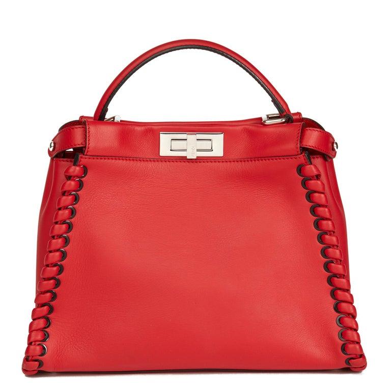 Women's 2017 Fendi Red Smooth Calfskin Leather Whipstitch Regular Peekaboo