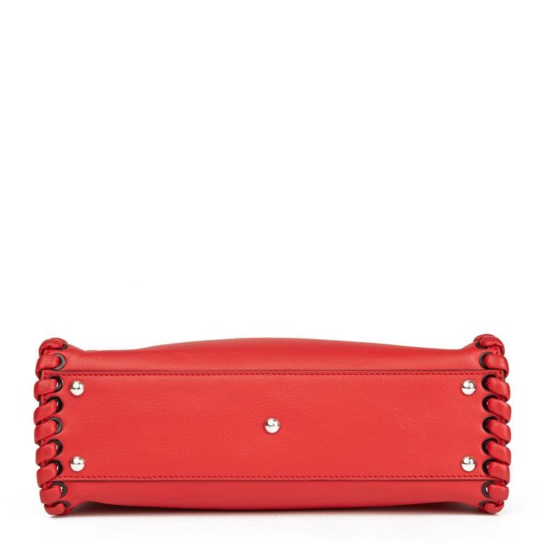 2017 Fendi Red Smooth Calfskin Leather Whipstitch Regular Peekaboo 1