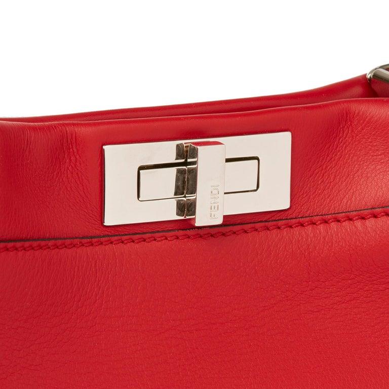 2017 Fendi Red Smooth Calfskin Leather Whipstitch Regular Peekaboo 2