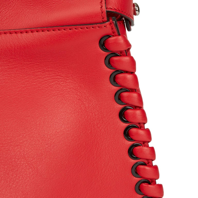 2017 Fendi Red Smooth Calfskin Leather Whipstitch Regular Peekaboo 3