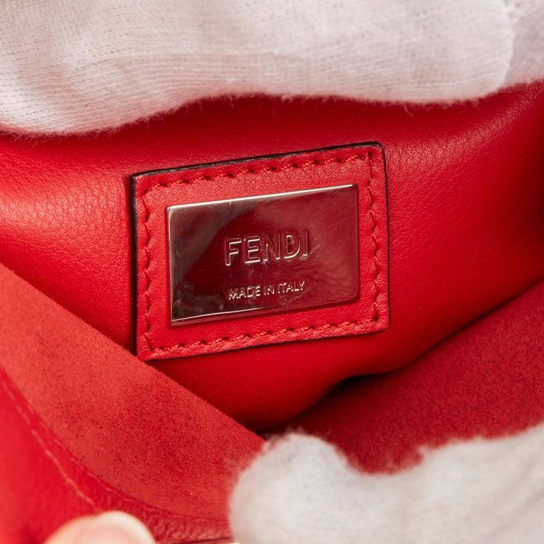 2017 Fendi Red Smooth Calfskin Leather Whipstitch Regular Peekaboo 4