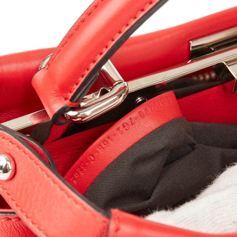 2017 Fendi Red Smooth Calfskin Leather Whipstitch Regular Peekaboo 5