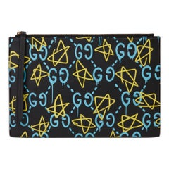 2017 Gucci Black, Blue & Yellow Calfskin Leather Gucci-Ghost Pouch