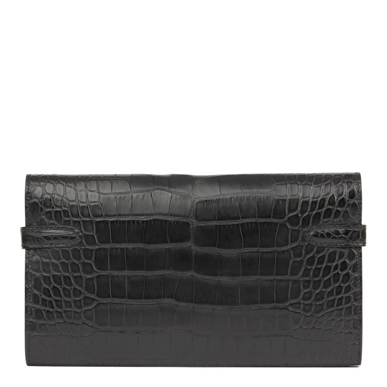 Women's 2017 Hermès Black Matte Mississippiensis Alligator Leather Kelly Long Wallet