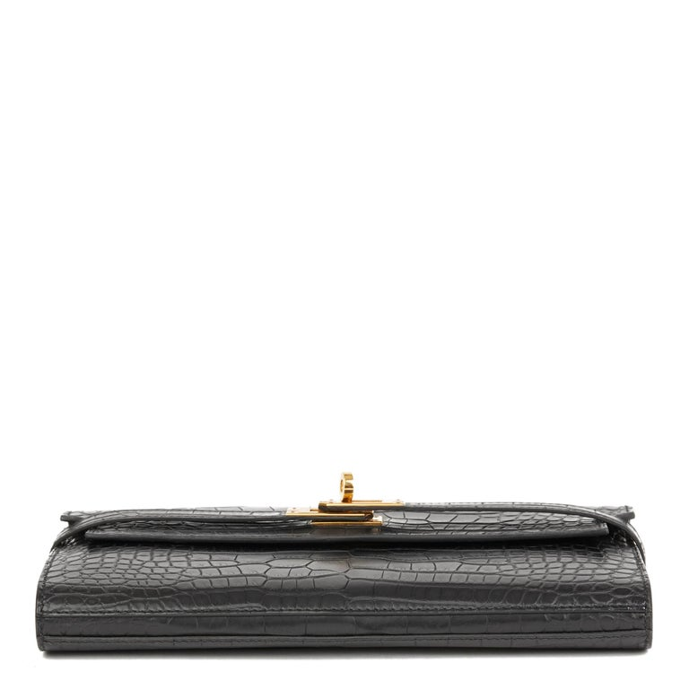 2017 Hermès Black Matte Mississippiensis Alligator Leather Kelly Long Wallet 1