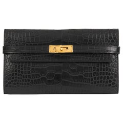 2017 Hermès Black Matte Mississippiensis Alligator Leather Kelly Long Wallet