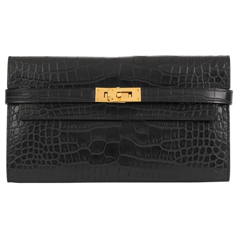 2017 Hermès Black Matte Mississippiensis Alligator Leather Kelly Long Wallet