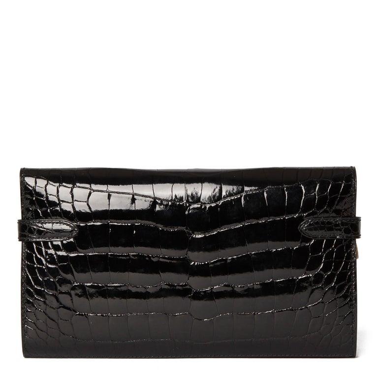 Women's 2017 Hermès Black Shiny Mississippiensis Alligator Leather Kelly Long Wallet  For Sale