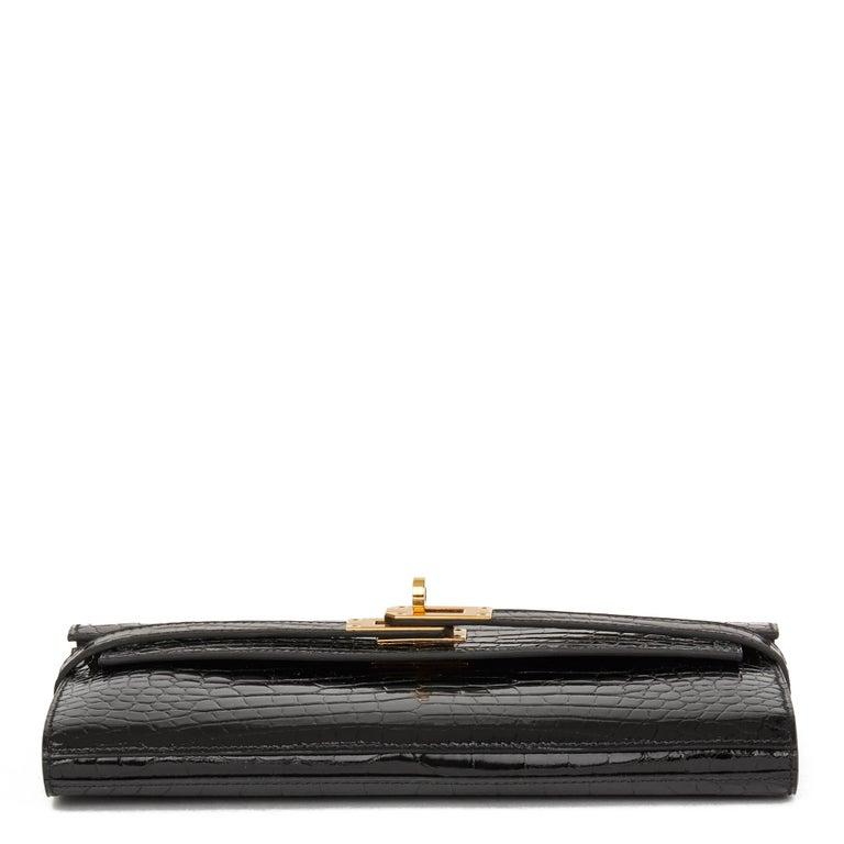 2017 Hermès Black Shiny Mississippiensis Alligator Leather Kelly Long Wallet  For Sale 1