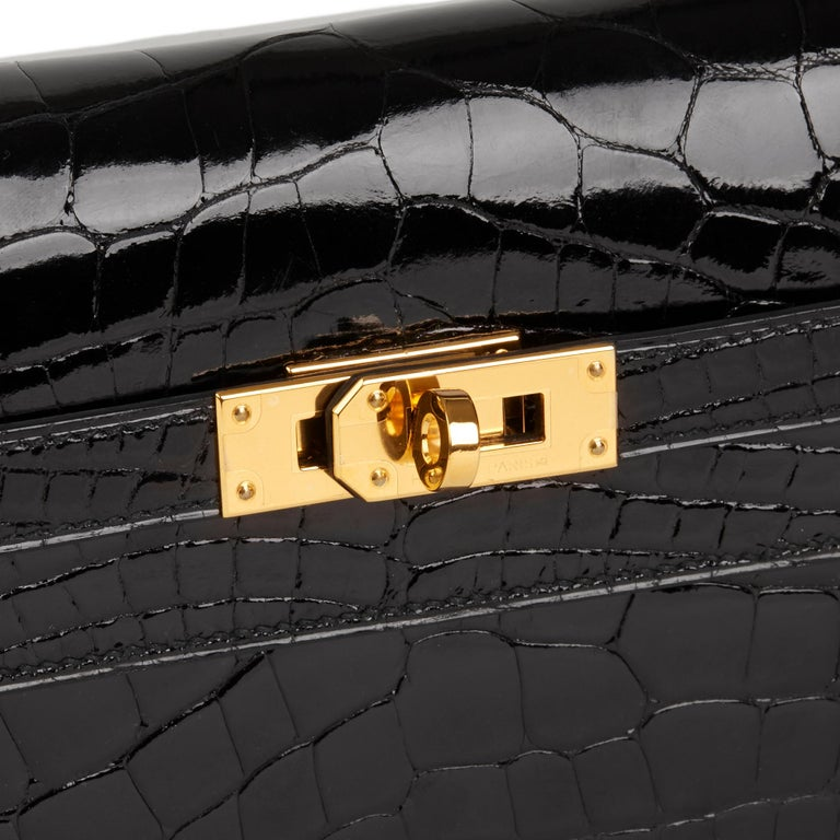 2017 Hermès Black Shiny Mississippiensis Alligator Leather Kelly Long Wallet  For Sale 2
