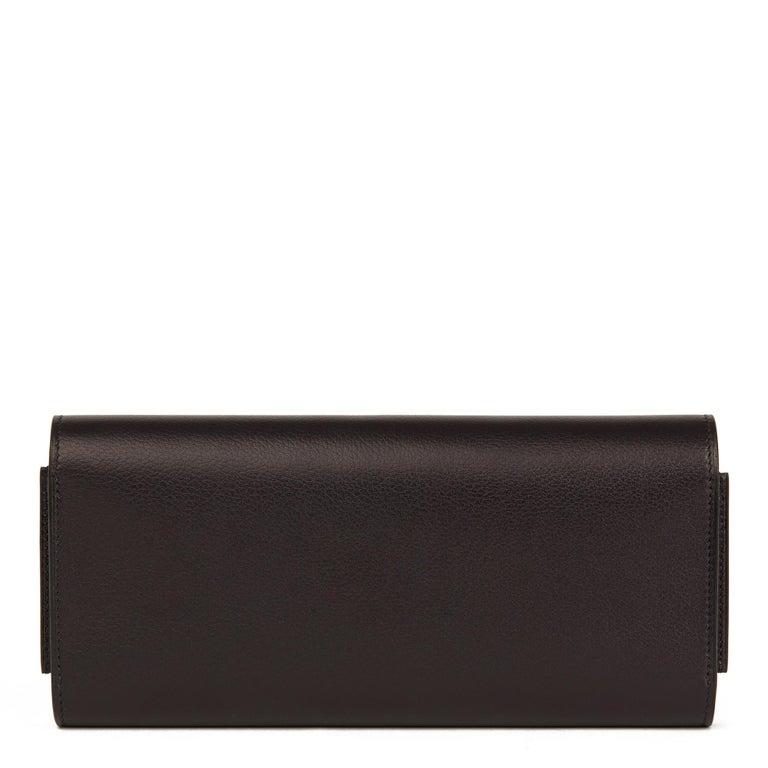 Women's 2017 Hermès Bleu Evergrain Leather & Lez Lisse Lizard Portefeuille Passant Long For Sale