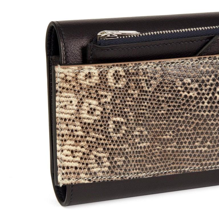 2017 Hermès Bleu Evergrain Leather & Lez Lisse Lizard Portefeuille Passant Long For Sale 2