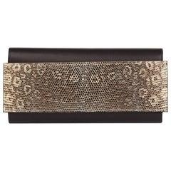 2017 Hermès Bleu Evergrain Leather & Lez Lisse Lizard Portefeuille Passant Long