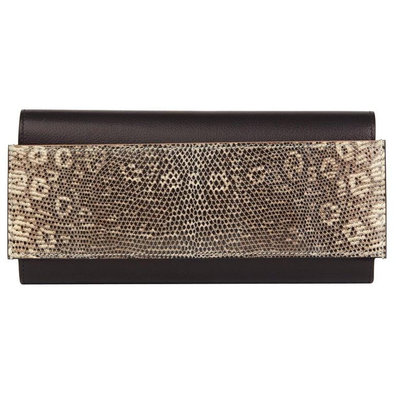 2017 Hermès Bleu Evergrain Leather & Lez Lisse Lizard Portefeuille Passant Long For Sale
