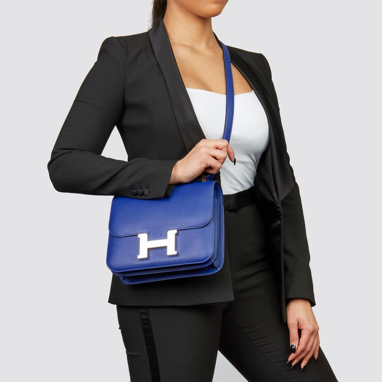 HERMÈS Blue Electric Epsom Leather Constance 23cm  Xupes Reference: CB226 Serial Number: A Age (Circa): 2017 Accompanied By: Hermès Dust Bag, Box, Care Booklet, Protective Felt Authenticity Details: Date Stamp (Made in France) Gender: Ladies Type: