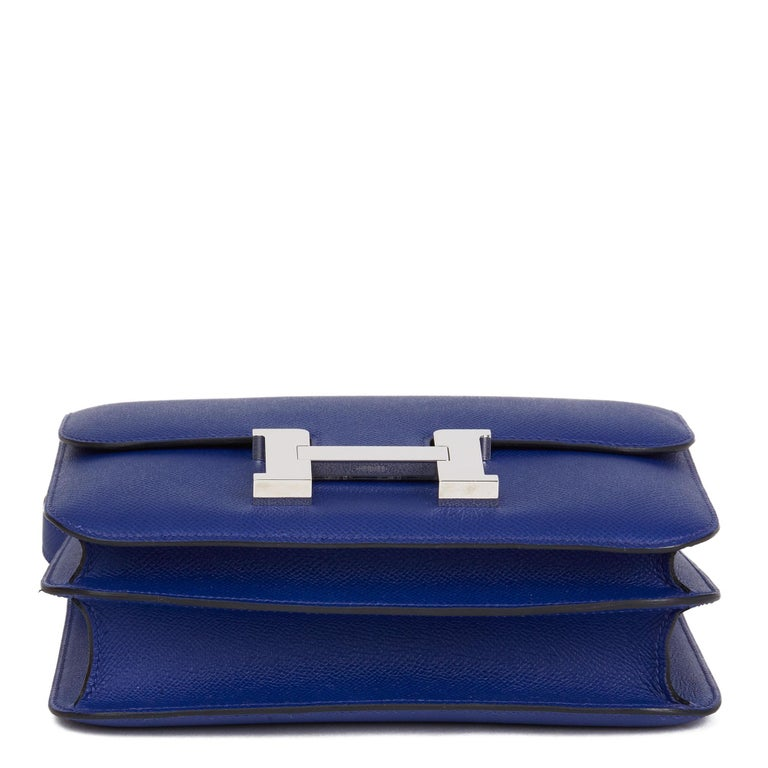 2017  Hermès Blue Electric Epsom Leather Constance 23cm For Sale 2