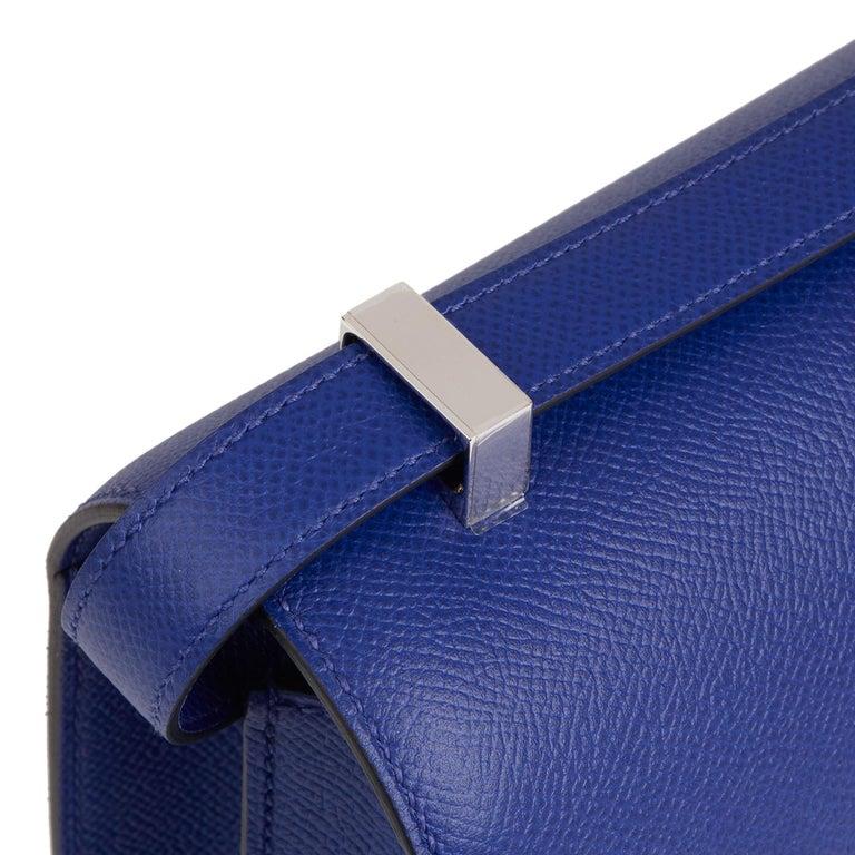 2017  Hermès Blue Electric Epsom Leather Constance 23cm For Sale 4