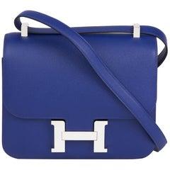 2017  Hermès Blue Electric Epsom Leather Constance 23cm