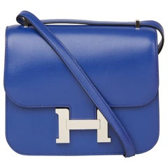 2017 Hermès Blue Electric Tadelakt Leather Constance 18