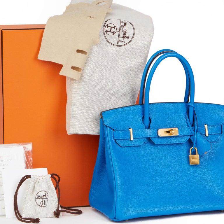 2017 Hermès Blue & Gris Mouette Chevre Mysore Leather  Special Order HSS Birkin  7