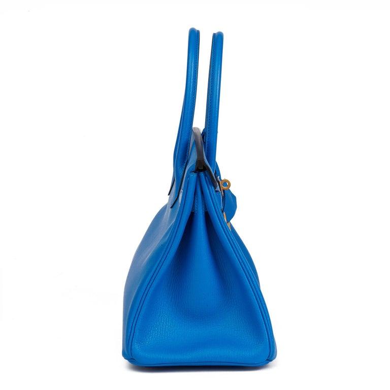 2017 Hermès Blue & Gris Mouette Chevre Mysore Leather  Special Order HSS Birkin  In New Condition In Bishop's Stortford, Hertfordshire