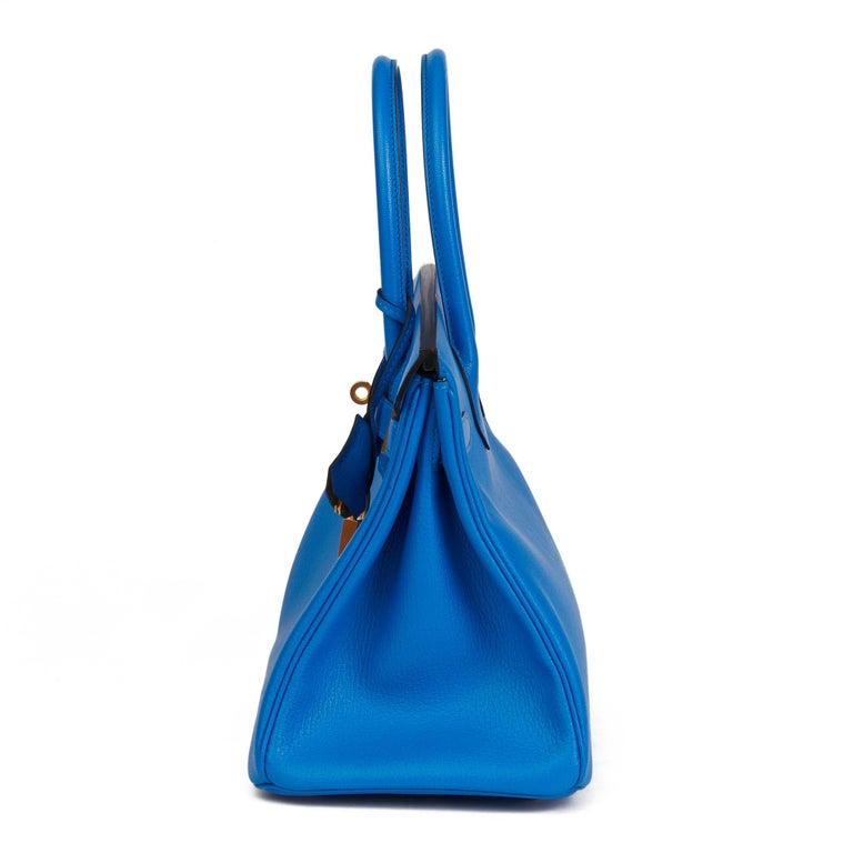 Women's 2017 Hermès Blue & Gris Mouette Chevre Mysore Leather  Special Order HSS Birkin
