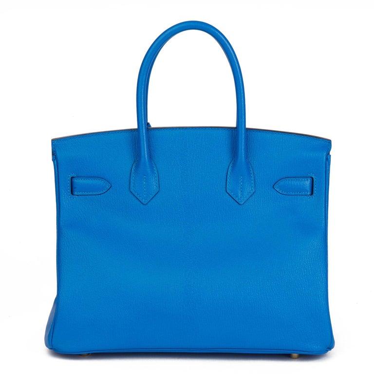 2017 Hermès Blue & Gris Mouette Chevre Mysore Leather  Special Order HSS Birkin  1