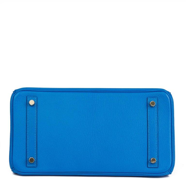 2017 Hermès Blue & Gris Mouette Chevre Mysore Leather  Special Order HSS Birkin  2