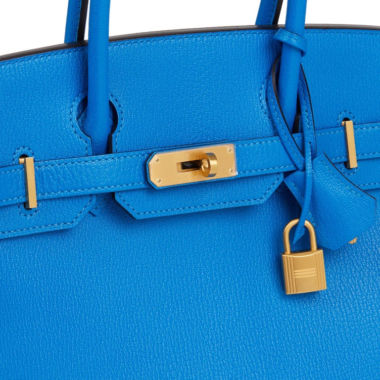 2017 Hermès Blue & Gris Mouette Chevre Mysore Leather  Special Order HSS Birkin  3