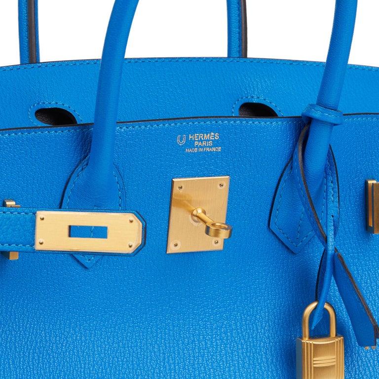 2017 Hermès Blue & Gris Mouette Chevre Mysore Leather  Special Order HSS Birkin  4