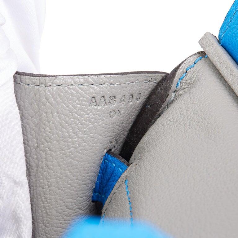 2017 Hermès Blue & Gris Mouette Chevre Mysore Leather  Special Order HSS Birkin  5