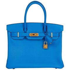 2017 Hermès Blue & Gris Mouette Chevre Mysore Leather  Special Order HSS Birkin