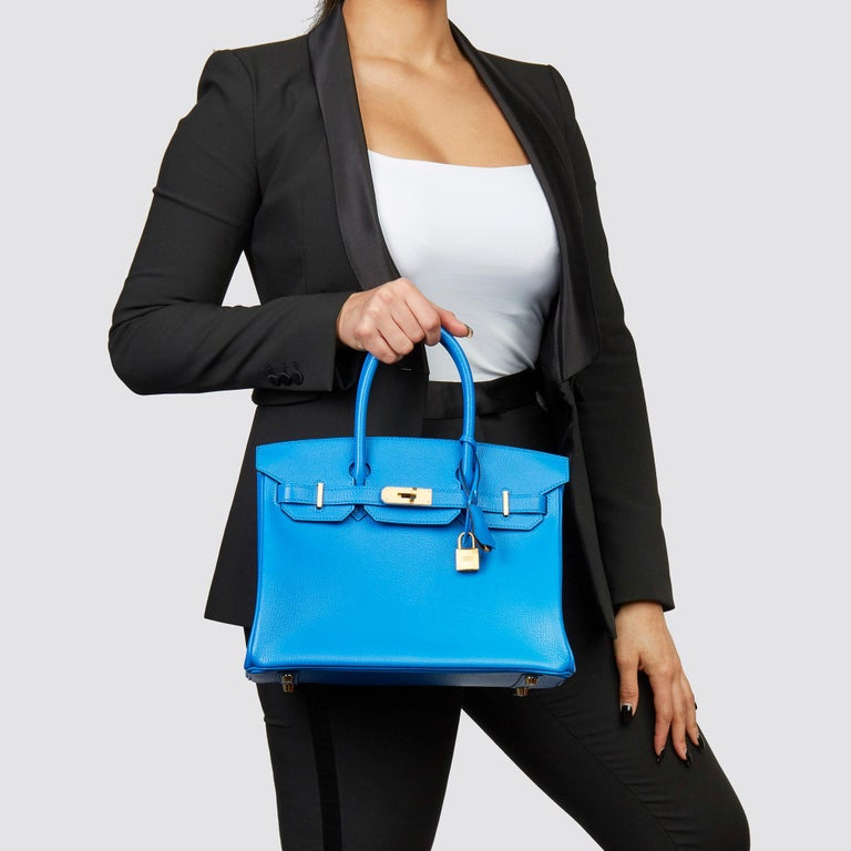 HERMÈS Blue Hyrda & Gris Mouette Chevre Mysore Leather  Special Order HSS Birkin 30cm  Xupes Reference: CB222 Serial Number: A Age (Circa): 2017 Accompanied By: Hermès Dust Bag, Box, Lock, Keys, Clochette, Rain Cover, Care Booklet, Protective
