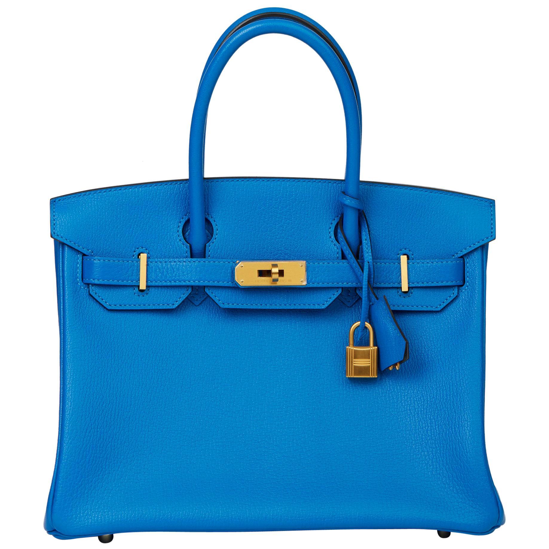2017 Hermès Blue Hydra & Gris Mouette Chevre Mysore Special Order HSS Birkin 30