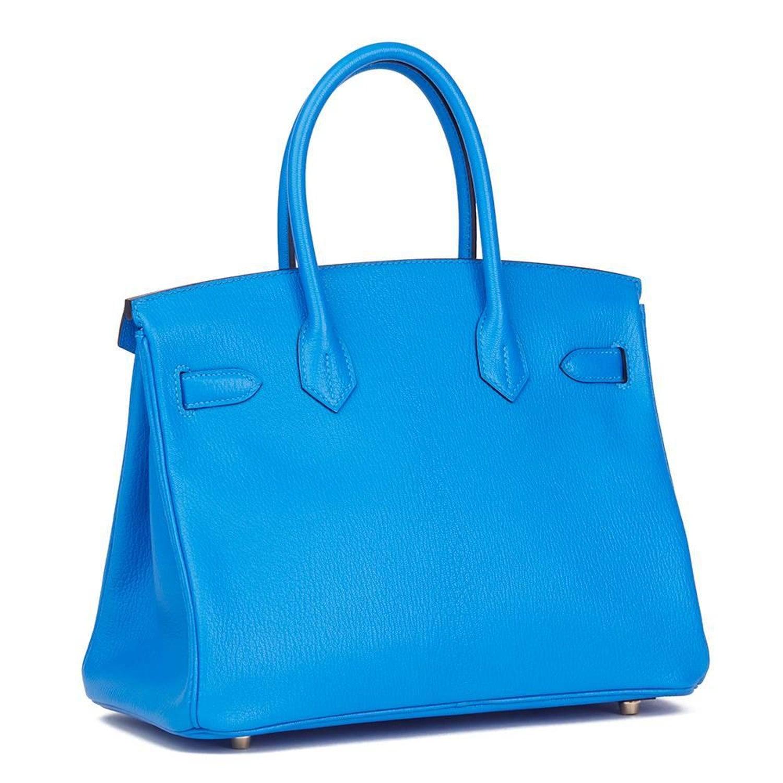 5c4ef3e948 Hermes Blue Hydra and Gris Mouette Chevre Mysore Special Order Birkin 30cm  Bag at 1stdibs