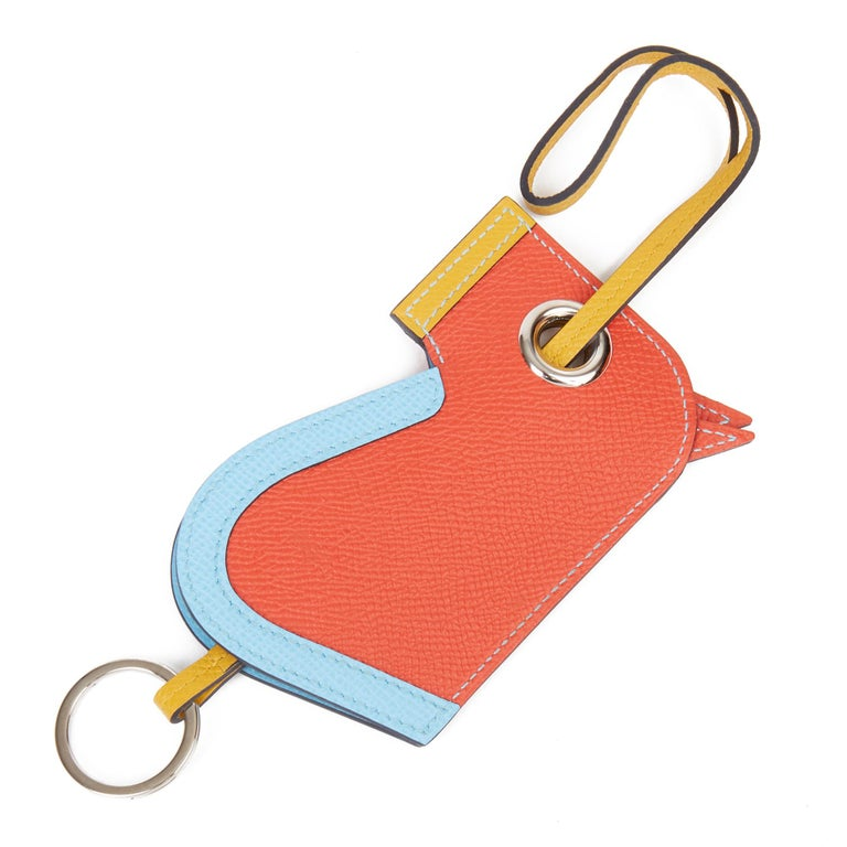 HERMÈS Celeste, Capucine & Ambre Epsom Leather Camail Key Holder Charm   Xupes Reference: HB3254 Serial Number: A Age (Circa): 2017  Accompanied By: Hermès Box Authenticity Details: Date Stamp (Made in France)  Gender: Unisex Type: