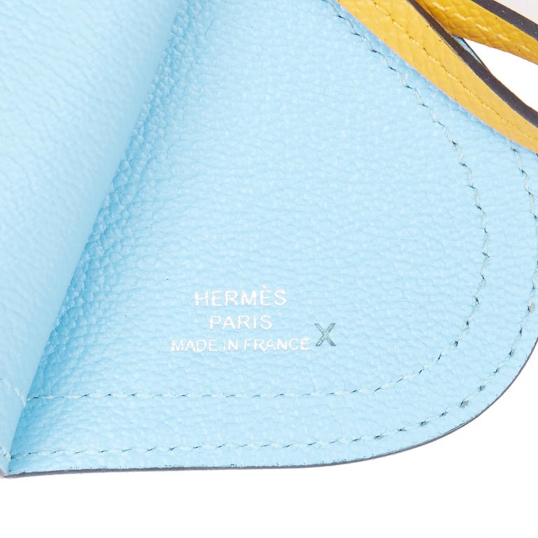 2017 Hermès Celeste, Capucine & Ambre Epsom Leather Camail Key Holder Charm  In New Condition For Sale In Bishop's Stortford, Hertfordshire