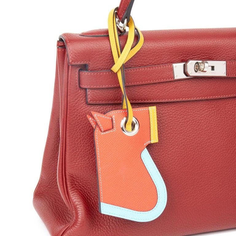 2017 Hermès Celeste, Capucine & Ambre Epsom Leather Camail Key Holder Charm  For Sale 1