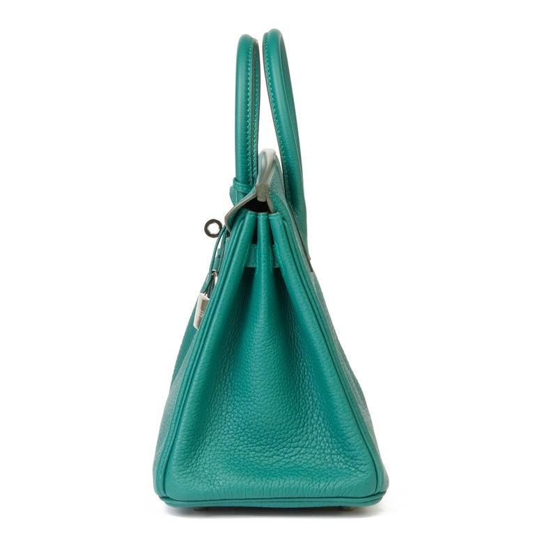 2017 Hermès Malachite Togo Leather Birkin 25cm In Excellent Condition For Sale In Bishop's Stortford, Hertfordshire