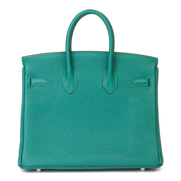 Women's 2017 Hermès Malachite Togo Leather Birkin 25cm For Sale