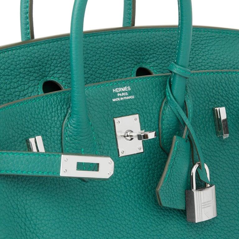 2017 Hermès Malachite Togo Leather Birkin 25cm For Sale 3