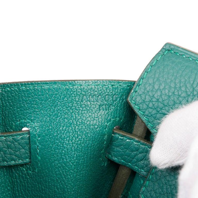 2017 Hermès Malachite Togo Leather Birkin 25cm For Sale 4