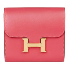 2017 Hermès Rose Lipstick Tadelakt Leather Constance Compact Wallet