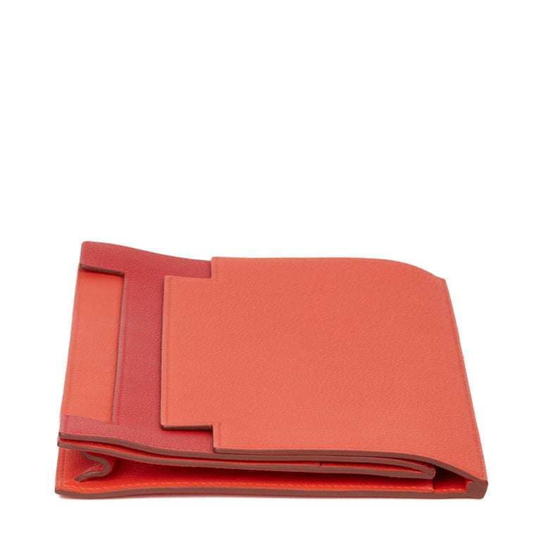 Women's 2017 Hermès Rouge Tomate & Rouge Grenat Evercolour Leather Multiplis Clutch For Sale