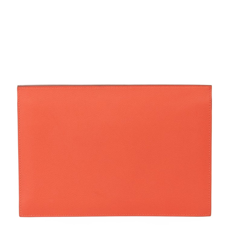 2017 Hermès Rouge Tomate & Rouge Grenat Evercolour Leather Multiplis Clutch For Sale 1
