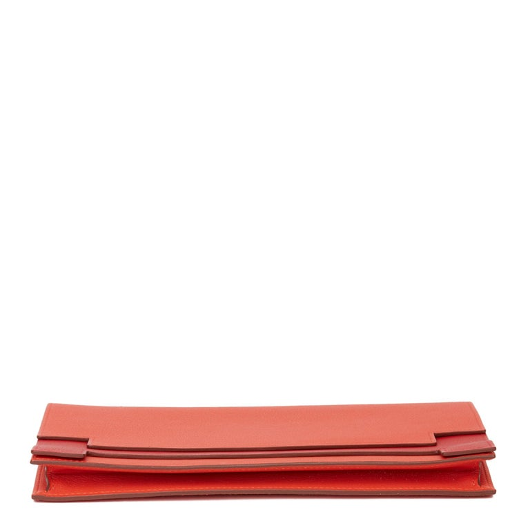 2017 Hermès Rouge Tomate & Rouge Grenat Evercolour Leather Multiplis Clutch For Sale 2
