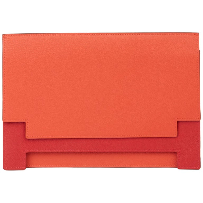 2017 Hermès Rouge Tomate & Rouge Grenat Evercolour Leather Multiplis Clutch For Sale