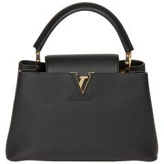 2017 Louis Vuitton Black Taurillon Calfskin Leather Capucine PM