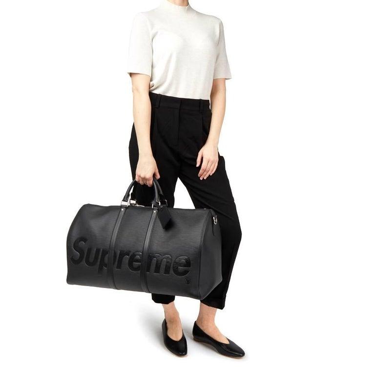 43e45740a2bd 2017 Louis Vuitton Supreme Black Epi Leather Keepall Bandouliere For Sale 6